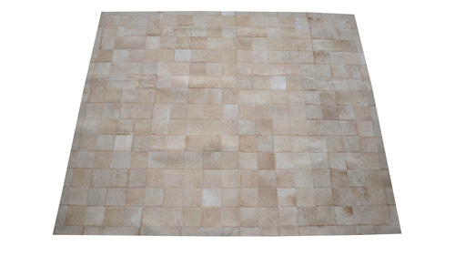 Light Tan Patchwork Hide Rug - Square Tiles Hide Rug - NC3