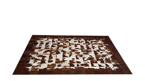 Brown & White Patchwork Hide Rug - Square Tiles Hide Rug – NC13