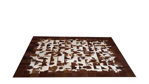 Brown & White Patchwork Hide Rug - Square Tiles Hide Rug – NC13