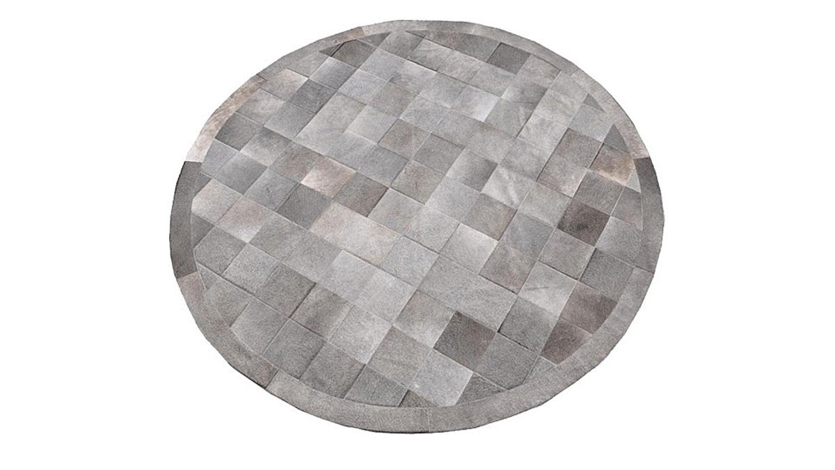 Round Cowhide Rug - Grey Square Tiles - R2