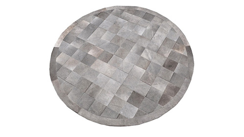 Round Cowhide Rug - Grey Square Tiles - R2