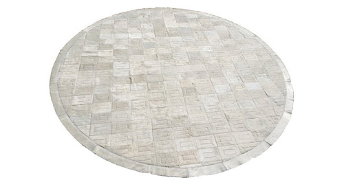 Round Cowhide Rug - White Tango design - R3