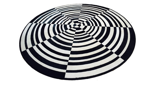 Round Cowhide Rug - Black and White Ripple design - R4