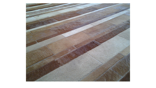 Stripes Cowhide Rug - Tans and Caramels - S5