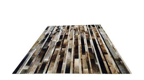 Stripes Cowhide Rug - Grey Café Blend - S6