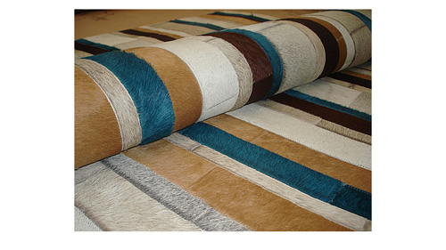 Stripes Cowhide Rug - Natural and Dyed Colors - S7