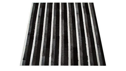 Stripes Cowhide Rug - Black White and Charcoal - S8