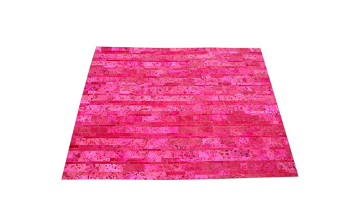 Stripes Cowhide Rug - Fuchsia Devore - S10