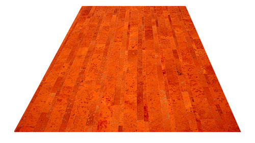 Stripes Cowhide Rug - Orange Devore - S11