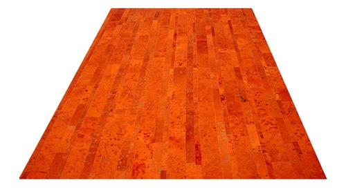 Stripes Cowhide Rug - Orange Devore - S11