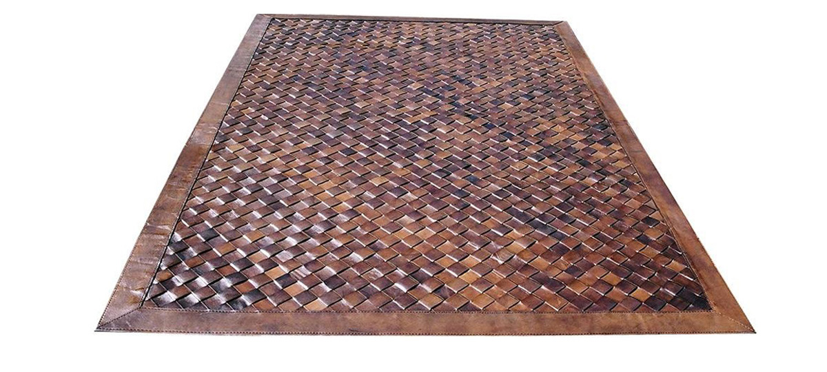 Woven Leather Rug - Diagonal Light Brown / Basket Weave Leather Rug - Diagonal Light Brown - WL1