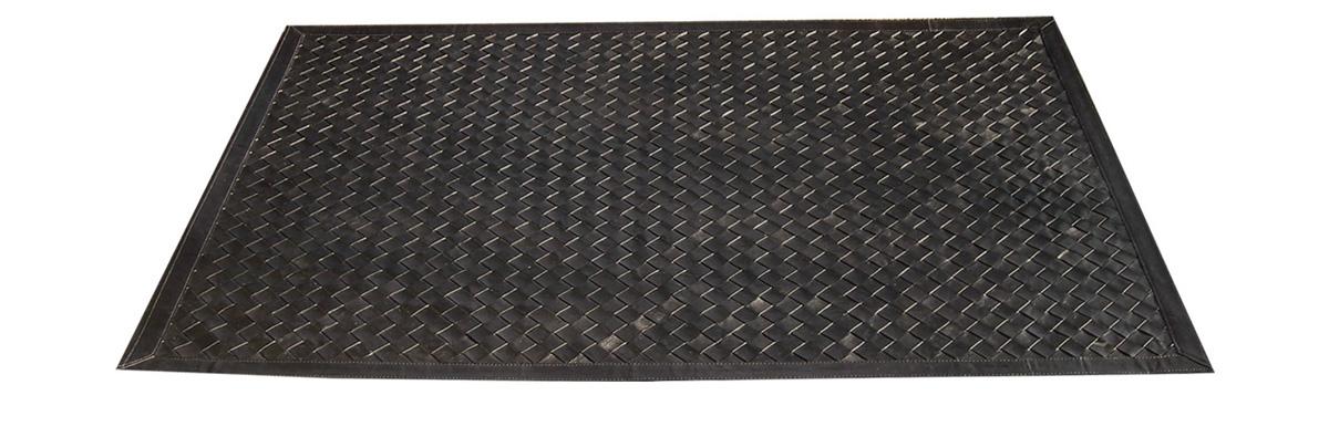Woven Leather Rug - Diagonal Black / Basket Weave Leather Rug - Diagonal Black - WL2