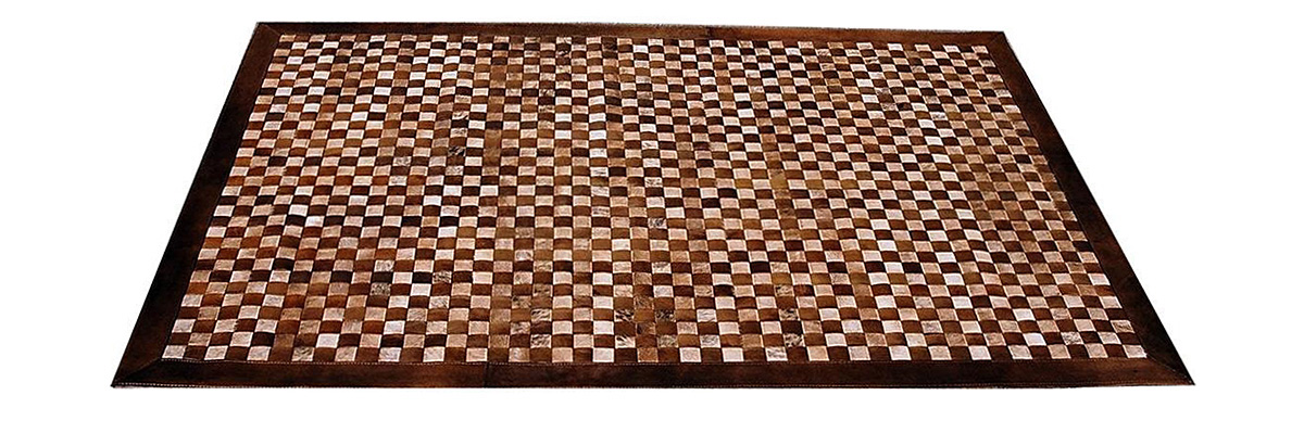Woven Leather Rug Combined - Light Browns - Basket Weave Leather Rug Combined - Light Browns – WL3