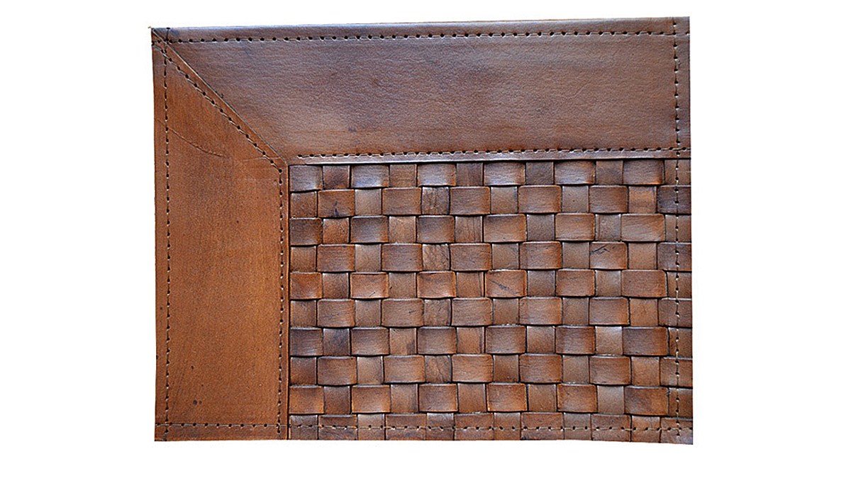 Woven Leather Rug - Narrow Stripes Light Brown / Basket Weave Leather Rug - Narrow Stripes Light Brown - WL7