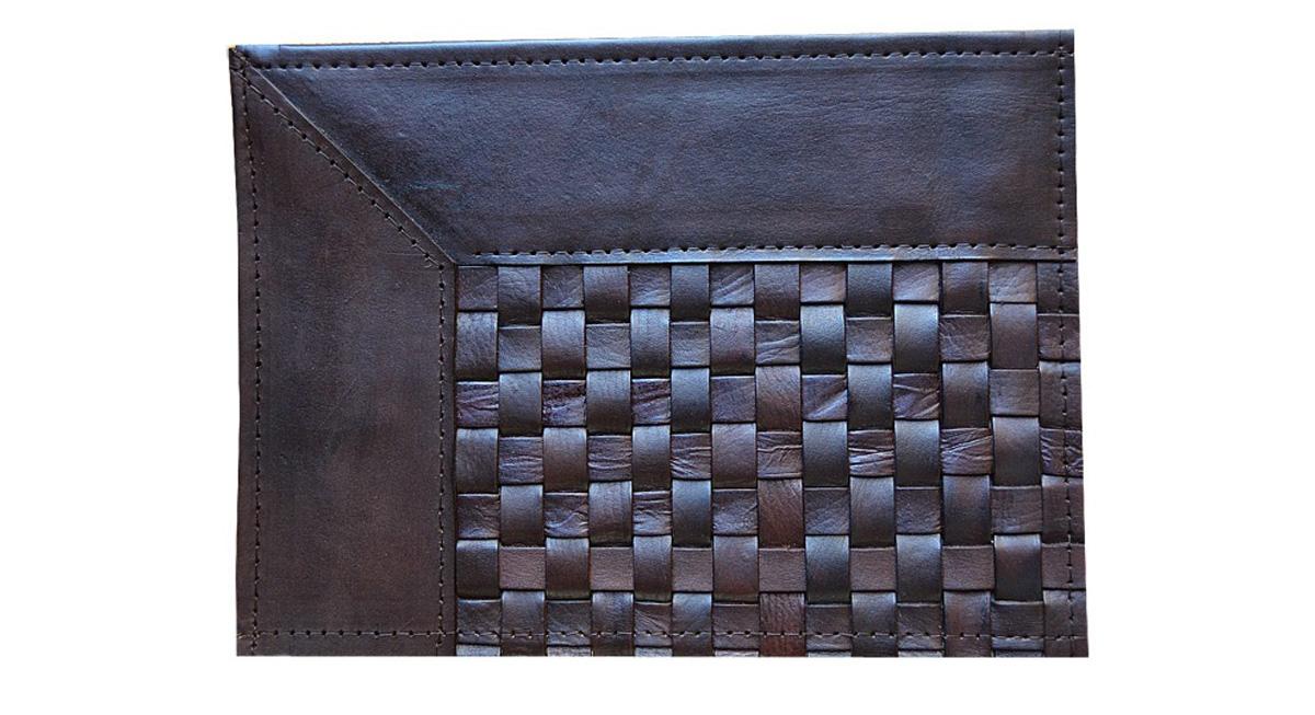 Woven Leather Rug - Narrow Stripes Dark Brown / Basket Weave Leather Rug - Narrow Stripes Dark Brown - WL8