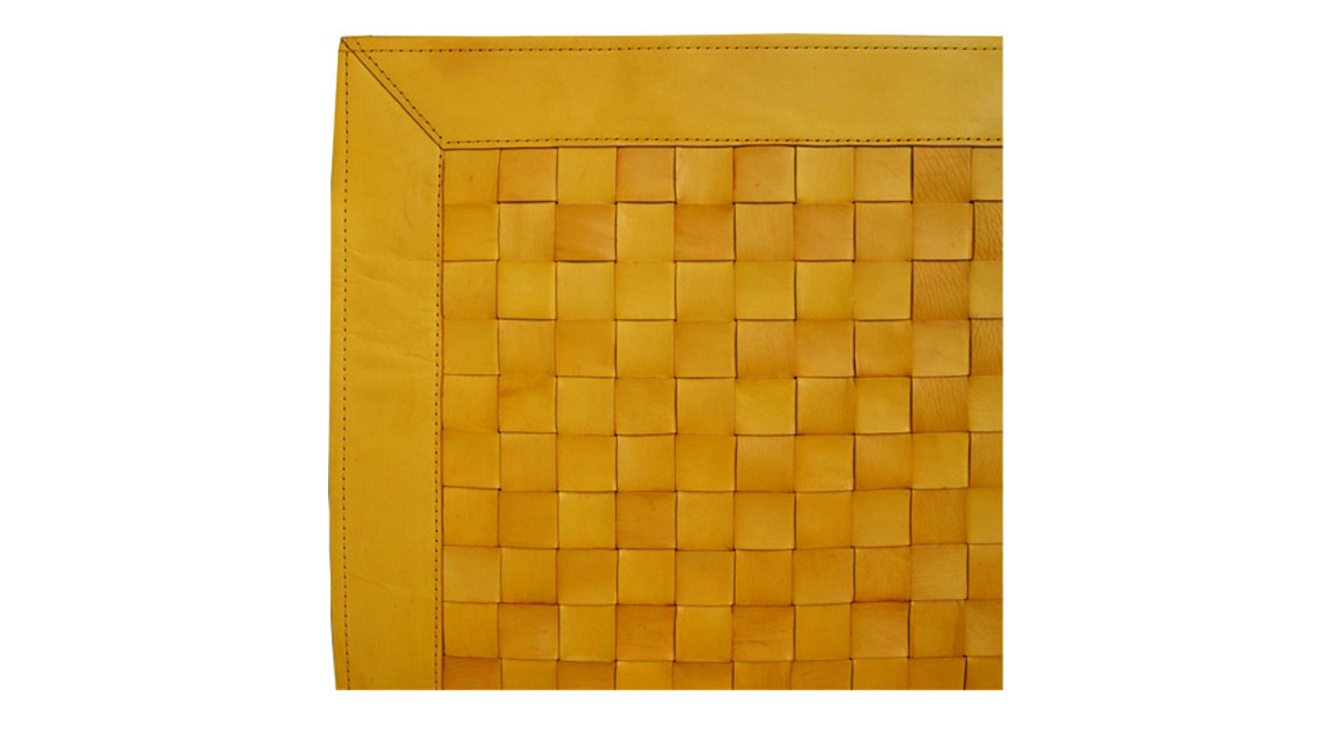 Woven Leather Rug - Yellow / Basket Weave Leather Rug - Yellow - WL10