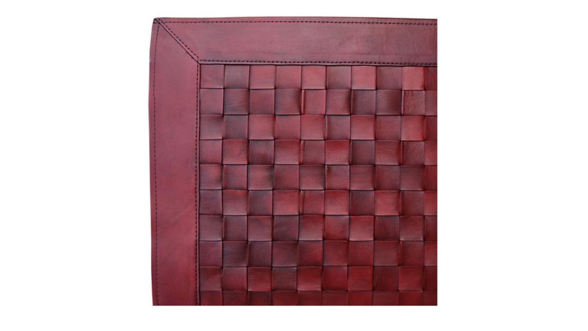 Woven Leather Rug - Dark Red / Basket Weave Leather Rug - Dark Red - WL11