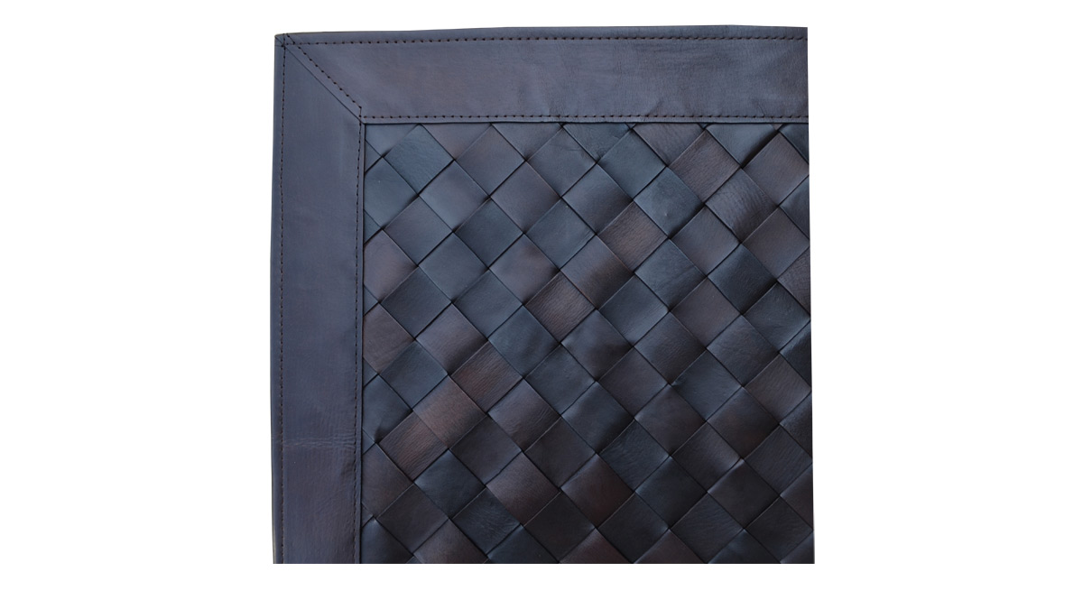 Woven Leather Rug - Diagonal Dark Brown - Basket Weave Leather Rug - Diagonal Dark Brown - WL13