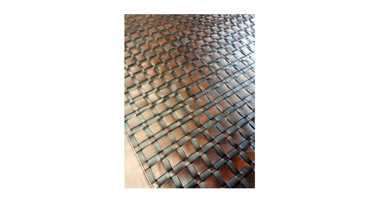 Woven Leather Rug - Frames Dark and Light Brown - Basket Weave Leather Rug - Frames Dark and Light Brown - WL16