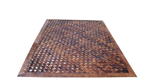 Woven Leather Rug Diagonal Light Brown Basket Weave