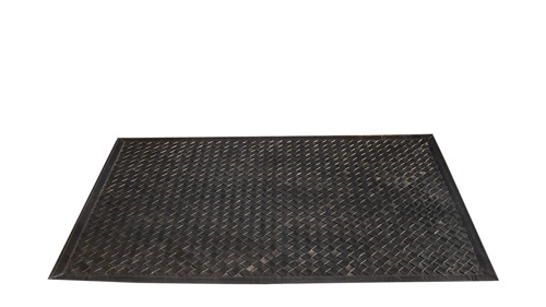 Woven Leather Rug - Diagonal Black / Basket Weave Leather Rug - Diagonal Black - WL2