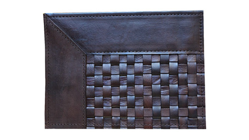 Woven Leather Rug - Narrow Stripes Dark Brown / Basket Weave Leather Rug - Narrow Stripes Dark Brown - WL8