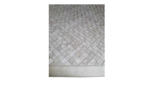 Woven Leather Rug - Diagonal Cream Tones - Basket Weave Leather Rug - Diagonal Cream Tones - WL18