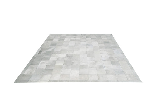 White Cowhide Rug - Square Tiles - W2