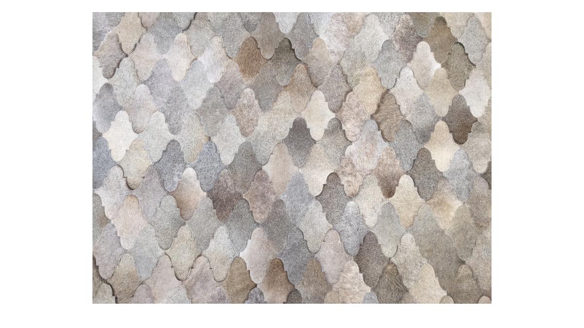 Grey with Little Beige Patchwork Cowhide Rug - Sherazade Design - P21