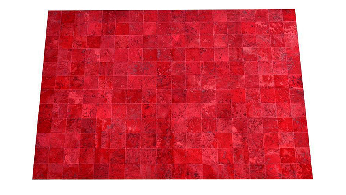 Dyed Cowhide Rug - Red Devore Square Tiles - D7