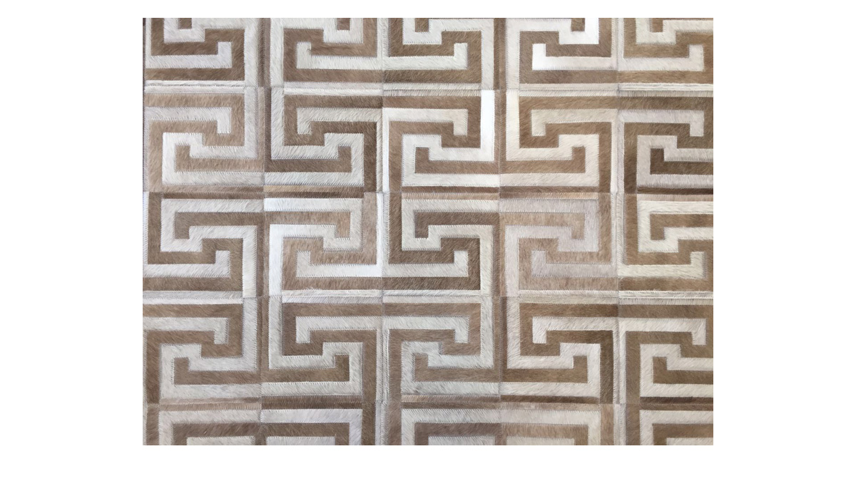 Light & Medium Sand Patchwork Cowhide Rug - Inca design - P22