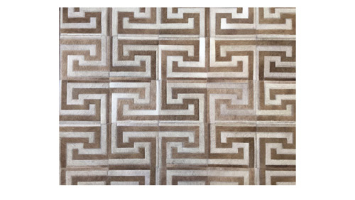Light & Medium Sand Patchwork Cowhide Rug - Inca design - P22