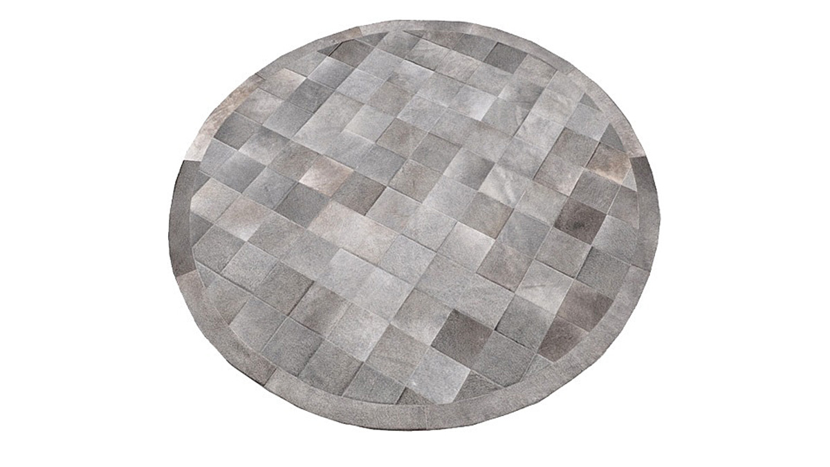 Grey Cowide Rug - Round Hide Rug in Square Patches - G10