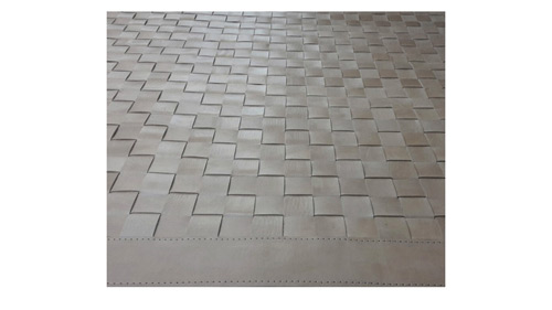 Woven Leather Rug - Cream Tones - Basket Weave Leather Rug - Cream Tones - WL14