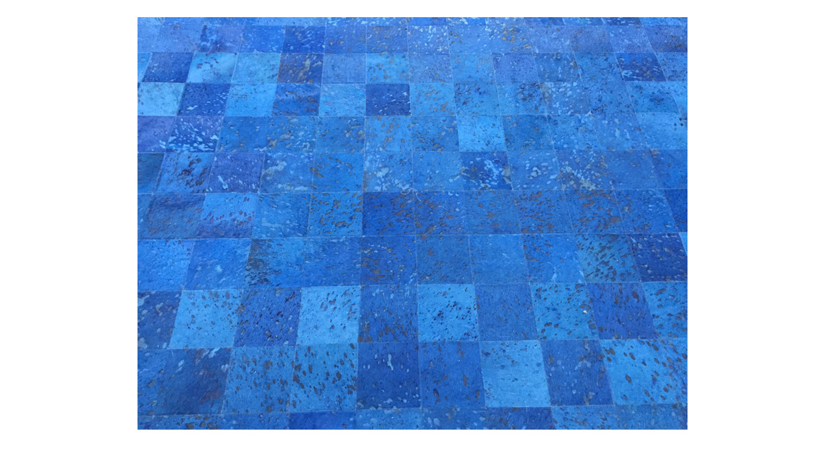 Dyed Cowide Rug - Blue Devore Square Tiles - D10