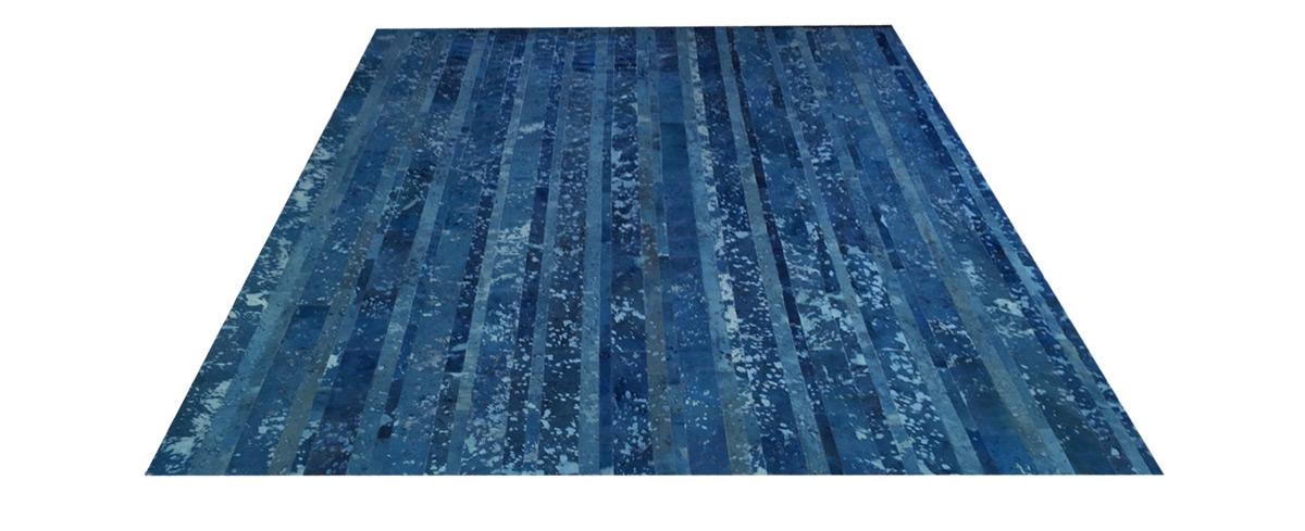 Stripes Cowhide Rug - Blue Devore - D11