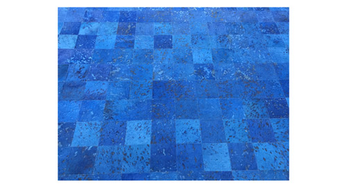 Dyed Cowide Rug Blue Devore Square Tiles - D10