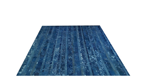 Stripes Cowhide Rug - Blue Devore - D11