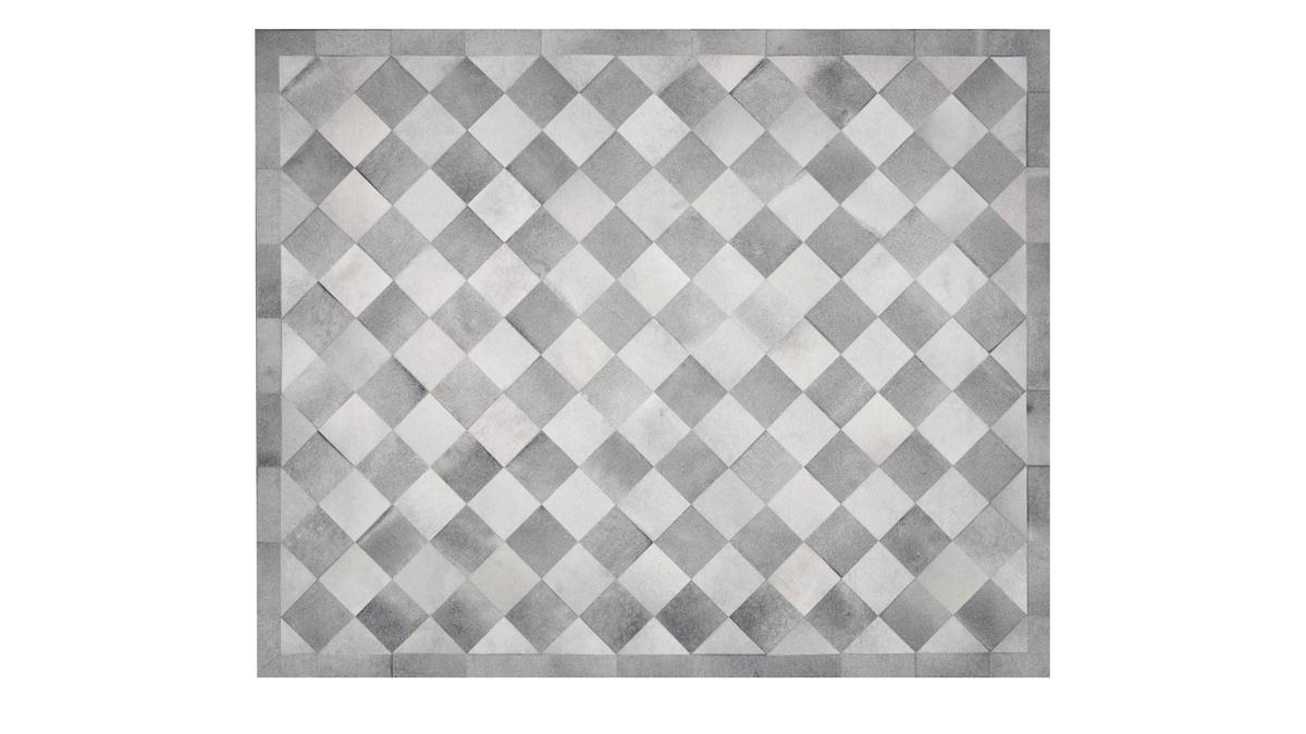 Grey Cowide Rug - Diagonal Ckeckerboard Pattern - G11