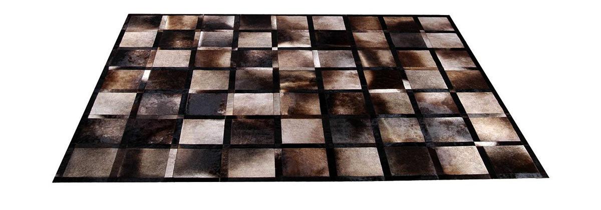 Iridescent Grey Brown Patchwork Cowhide Rug - Frames design - NC16
