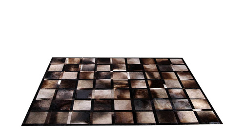 Iridescent Grey Brown Patchwork Cowhide Rug - Frames design - NC16