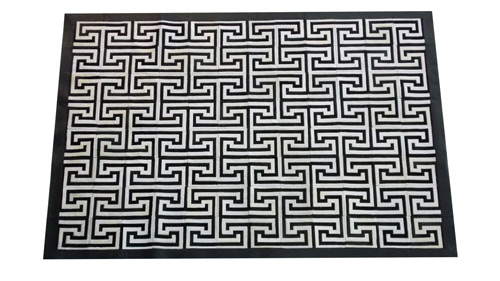 Black and White Cowhide Rug - Inca design - NC17