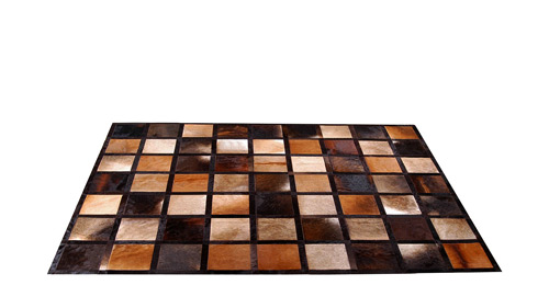 Patchwork Cowhide Rug - Browns, Caramels & Taupes - Piedra design - NC18