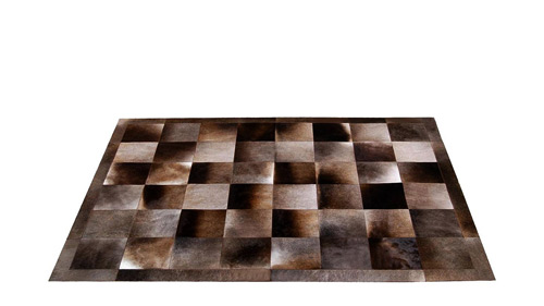 Patchwork Cowhide Rug - Browns & Greys Iridescent Tones - Piedra design - MD1