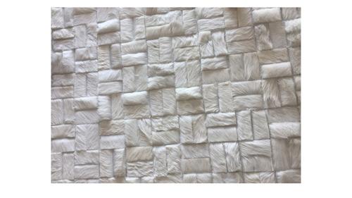 White Cowhide Rug - Parquet Versailles design - W8