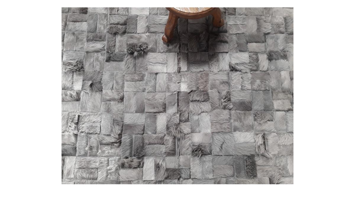 Dyed Grey Cowhide Rug – Parquet Versailles Design – G3