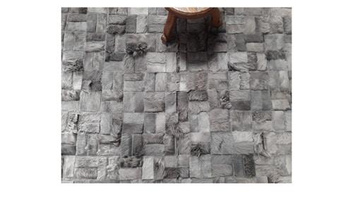 Dyed Grey Cowhide Rug Parquet Versailles Design – G3