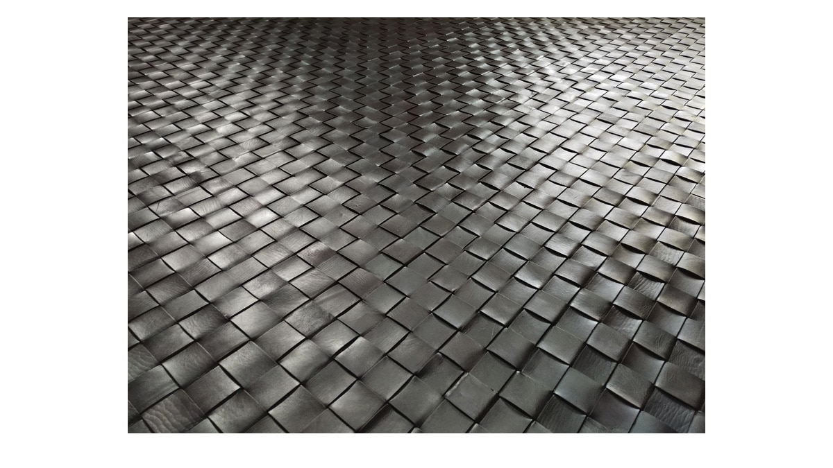 Woven Leather Rug - Diagonal Dark Brown - Basket Weave Leather Rug - Diagonal Dark Brown - WL6