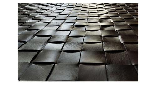 Woven Leather Rug - Dark Brown - Basket Weave Leather Rug - Dark Brown - WL5