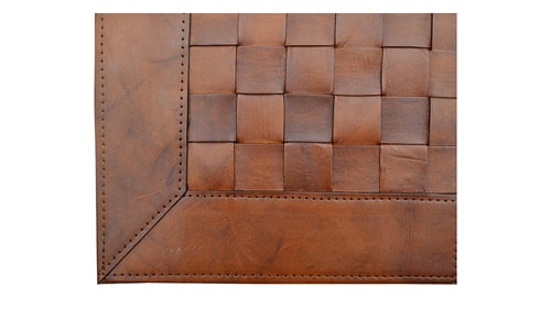 Woven Leather Rug - Light Brown - Basket Weave Leather Rug - Light Brown - WL9